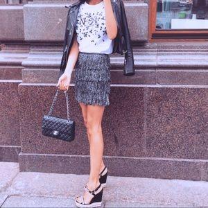 Silver Fringe Skirt Size US 4 H&M